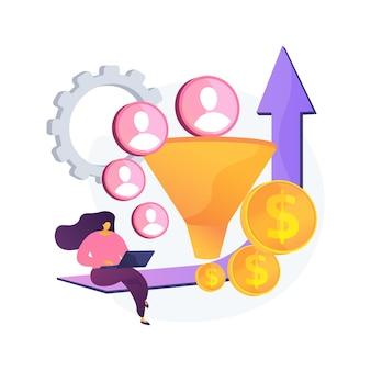 Ilustración de vector de concepto abstracto de optimización de tasa de conversión. el sistema de marketing digital, el marketing de atracción de clientes potenciales, el aumento de visitantes al sitio web, convierten a los visitantes en metáforas abstractas de clientes.