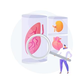 Ilustración de vector de concepto abstracto de órganos cultivados en laboratorio. células madre cultivadas en laboratorio, órganos bioartificiales, partes artificiales del cuerpo humano, trasplante en crecimiento en laboratorio, metáfora abstracta de bioingeniería.