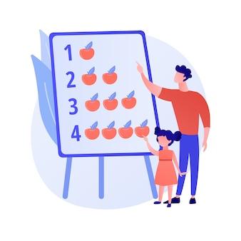 Ilustración de vector de concepto abstracto de papás moderno. padre que se queda en casa, padre súper bueno de la casa, involucrado en la vida de los niños, junto con los niños, familia activa, pasando tiempo jugando metáforas abstractas.
