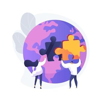 Ilustración de vector de concepto abstracto de participación social. compromiso social, trabajo en equipo, participación de la sociedad civil, voluntarios felices, gente de caridad, basura limpia, metáfora abstracta de plantar árboles.