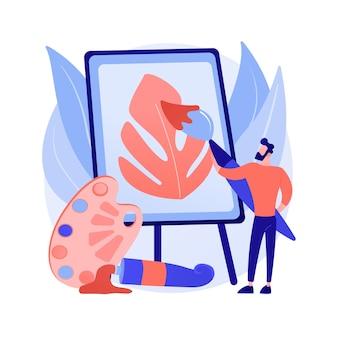 Ilustración de vector de concepto abstracto de pintura. curso de pintor aficionado en casa, aprende sobre dibujo, aumenta tu creatividad, ejercicios de terapia de arte, lección de dibujo en línea para niños, metáfora abstracta.