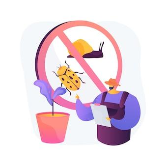 Ilustración de vector de concepto abstracto de plagas de jardín. mantenimiento de jardines, insectos de plantas, insecticidas en aerosol, pesticidas naturales, daños en la cosecha, enfermedades virales, metáfora abstracta de control de plagas naturales.