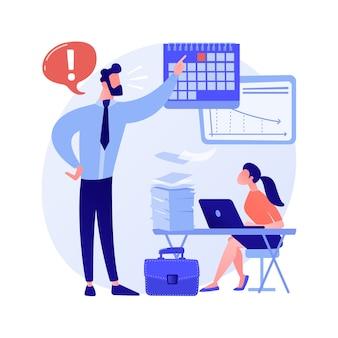 Ilustración de vector de concepto abstracto de presión de trabajo. manejo del estrés, sobrecarga laboral, ansiedad crónica, salud física, tensión emocional, presión de la fecha límite, metáfora abstracta del bienestar del empleado.