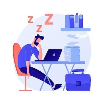 Ilustración de vector de concepto abstracto de privación de sueño. síntoma de insomnio, pérdida de sueño, problema de privación, salud mental, causa y tratamiento, diagnóstico clínico, metáfora abstracta de insomnio.