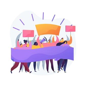 Ilustración de vector de concepto abstracto de protesta masiva. manifestación, disturbios violentos, movimiento social, derechos políticos, equidad racial, aplicación de la ley, activista político, metáfora abstracta de la democracia.
