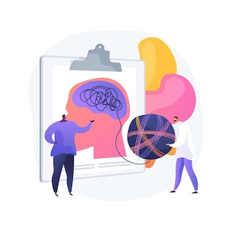 Ilustración de vector de concepto abstracto de psicoterapia. intervención no farmacológica, asesoramiento verbal, servicio de psicoterapia, terapia cognitivo conductual, metáfora abstracta de sesión privada.