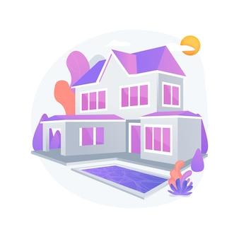 Ilustración de vector de concepto abstracto de residencia privada. casa de residencia unifamiliar, casa de pueblo de entidad privada, tipo de vivienda, propiedad de la tierra circundante, metáfora abstracta del mercado inmobiliario.