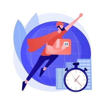 Ilustración de vector de concepto abstracto de servicio de entrega urgente. logística de transporte aéreo, correo postal global, entrega de paquetes, orden de envío rápido, número de seguimiento, metáfora abstracta de la oficina de correos.