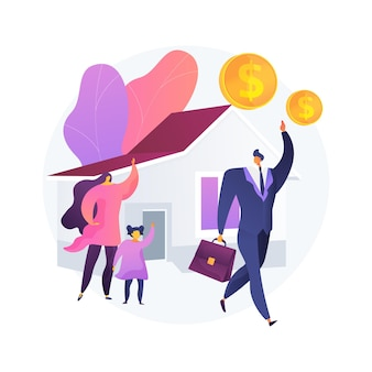 Ilustración de vector de concepto abstracto de sostén de pan. gana dinero, trabaja desde casa, marido empresario, padre madre que trabaja, la familia necesita apoyo, trabajo independiente, metáfora abstracta de la esposa casera.
