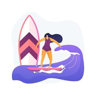 Ilustración de vector de concepto abstracto de surf. deporte acuático, diversión navideña, olas del océano, palm beach, vacaciones de verano, traje de baño, escuela de surf, tabla de surf, metáfora abstracta de video extrema.