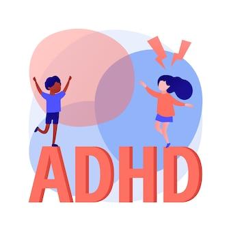 Ilustración de vector de concepto abstracto de trastorno por déficit de atención con hiperactividad. trastorno del desarrollo, hiperactividad, síndrome de déficit de atención, comportamiento impulsivo, metáfora abstracta de tdah.