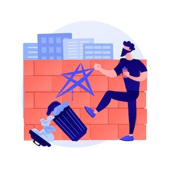 Ilustración de vector de concepto abstracto de vandalismo. destrucción y daño, propiedad pública o privada, vandalismo político, violencia y saqueos, paredes de construcción de graffiti metáfora abstracta.