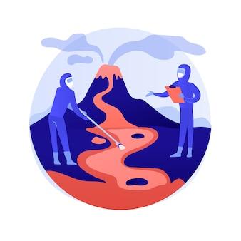 Ilustración de vector de concepto abstracto de vulcanología. estudio de erupciones volcánicas, disciplina de vulcanología, estudios universitarios, educación de posgrado, investigación científica y metáfora abstracta de predicción.