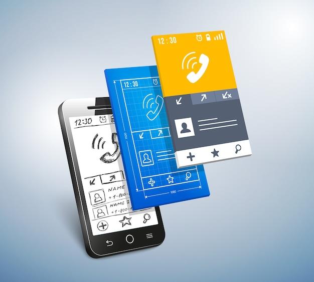 Ilustración de vector de concepto de aplicación móvil y desarrollo web