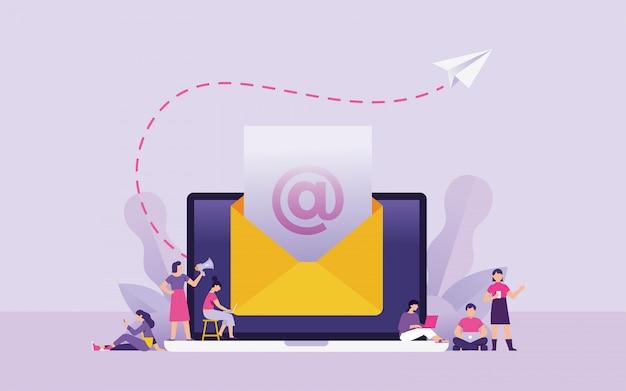 Ilustración de vector de concepto de boletín y marketing por correo electrónico