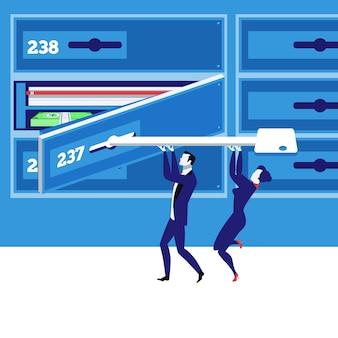 Ilustración de vector de concepto de caja de depósito bancario en estilo plano.