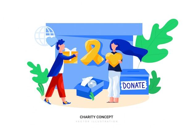 Ilustración de vector de concepto de caridad