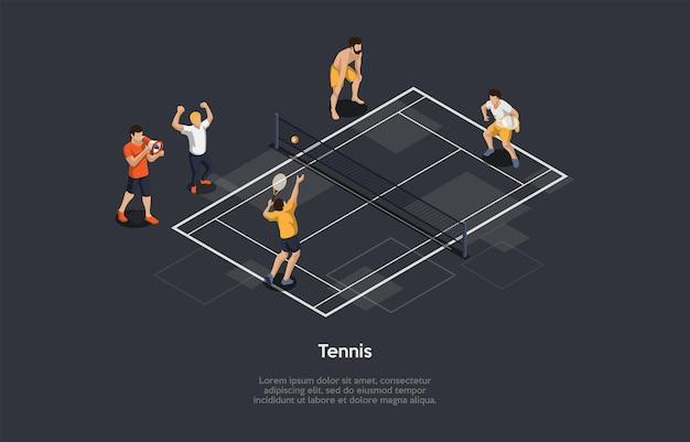 Ilustración de vector de concepto de deporte de tenis sobre fondo oscuro con escrituras. composición isométrica en estilo de dibujos animados 3d. personajes, objetos. grupo de personas ven a dos jugadores jugando en el campo con net