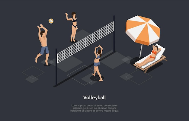 Ilustración de vector de concepto de deporte de voleibol de playa sobre fondo oscuro con escrituras. composición isométrica en estilo de dibujos animados 3d. personajes, objetos. gente jugando en la playa, una persona descansando