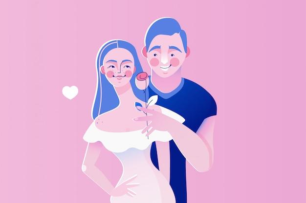 Ilustración de vector de concepto para el día de san valentín, fecha, amor, en el amor, romance