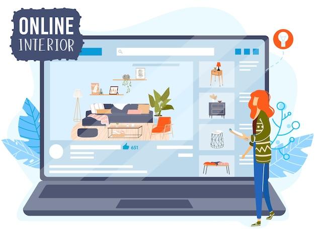 Ilustración de vector de concepto de diseño plano de aplicación interior de sala en línea. dibujos animados arquitecto diseñador planificación de personajes muebles para el hogar, decoración de interiores