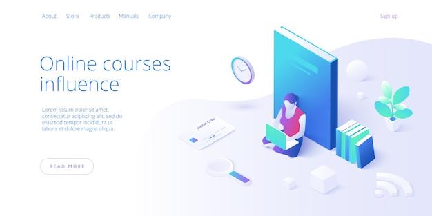Ilustración de vector de concepto de educación en línea en diseño isométrico