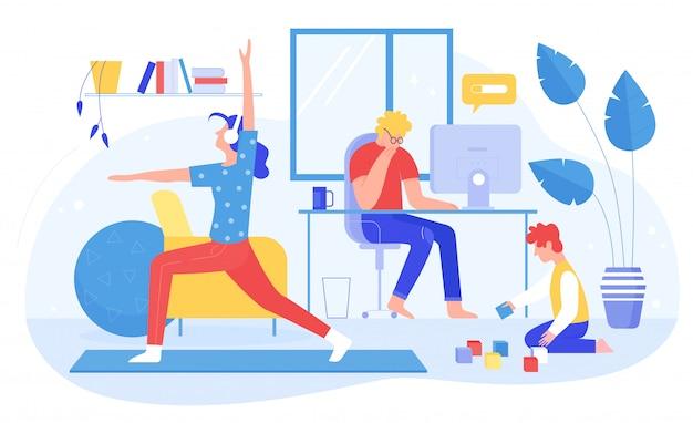Ilustración de vector de concepto de familia en el hogar, gente de familia plana de dibujos animados, madre padre y niño