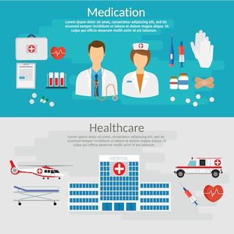 Ilustración de vector de concepto de medicina en estilo moderno diseño plano
