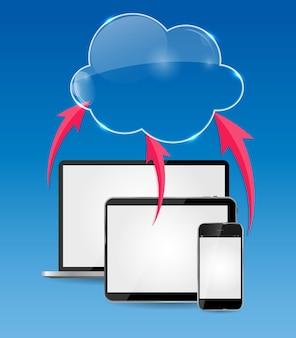 Ilustración de vector de concepto de negocio de cloud computing. eps10