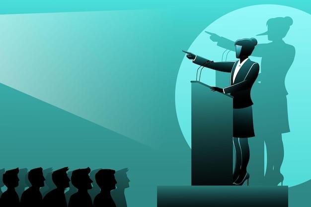 Ilustración de vector de concepto de negocio, una empresaria mentirosa hablando en el podio