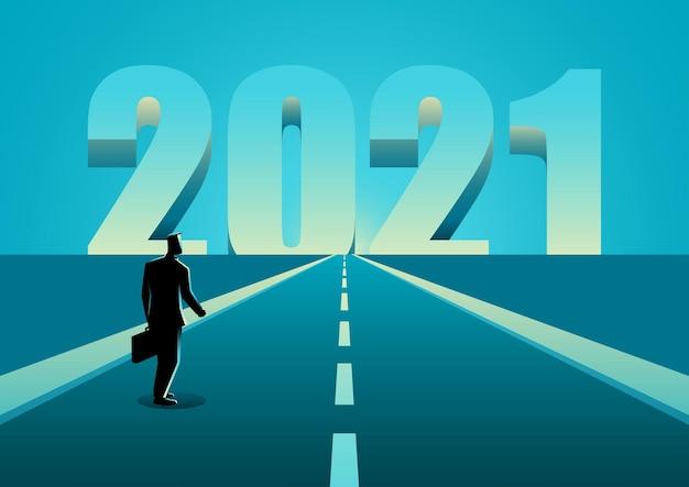 Ilustración de vector de concepto de negocio del empresario caminando por la carretera que conduce al año 2021, concepto de esperanza, fresco y resoluciones