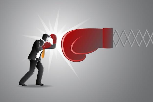 Ilustración de vector de concepto de negocio, empresario luchando con un gran guante de boxeo rojo
