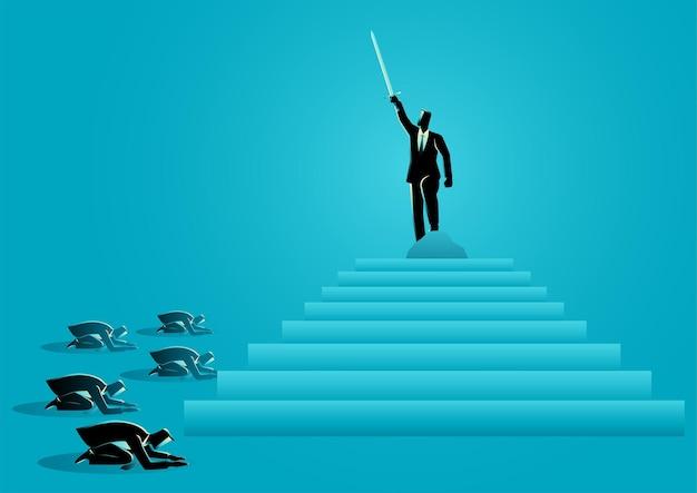 Ilustración de vector de concepto de negocio del empresario planteó un concepto de espada para la dignidad