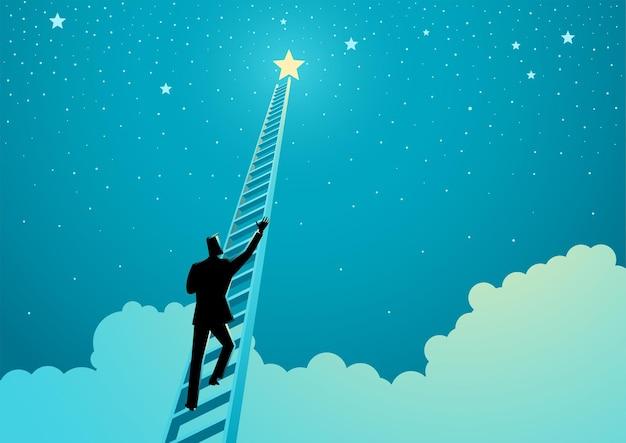 Ilustración de vector de concepto de negocio de un empresario subiendo una escalera para alcanzar las estrellas