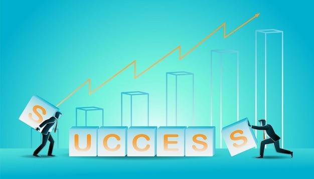 Ilustración de vector de concepto de negocio, empresarios construyen palabra éxito en el fondo de la tabla de crecimiento