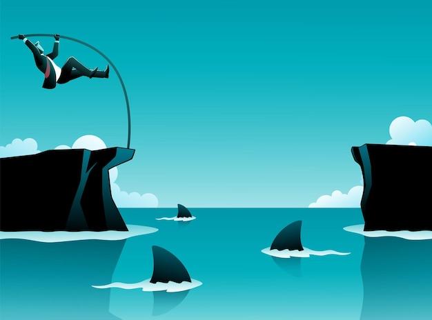Ilustración de vector de concepto de negocio, hombre de negocios salto con pértiga cruzar los acantilados mientras tiburones en el agua