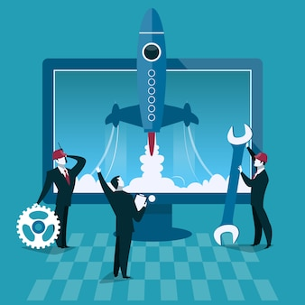 Ilustración de vector de concepto de negocio en marcha