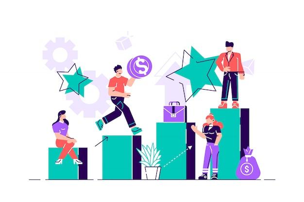 Ilustración de vector de concepto de negocio, pequeñas personas suben la escalera corporativa, el concepto de crecimiento profesional, planificación de carrera.
