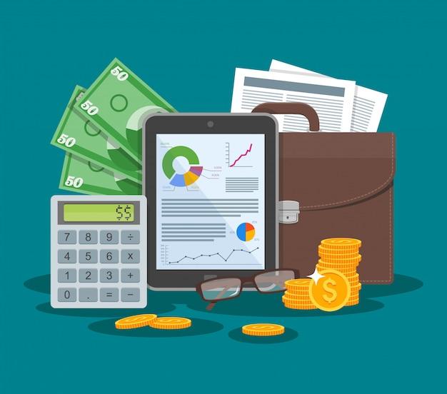 Ilustración de vector de concepto de negocios y finanzas en diseño de estilo plano. tableta con gráficos financieros y tablas. maletín, calculadora, dinero, hoja de papel.