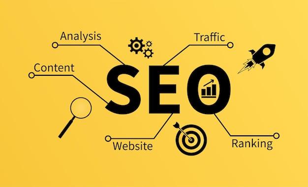 Ilustración de vector de concepto de optimización de motor de búsqueda seo