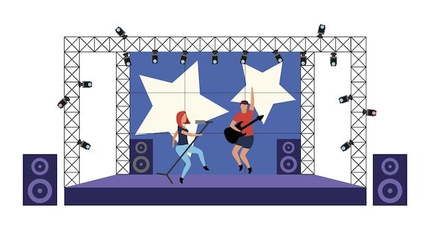 Ilustración de vector de concepto plano de concierto de rock en vivo. la banda de rock actuando en el escenario aisló personajes de dibujos animados en 2d en blanco para el diseño web. entretenimiento al aire libre. idea creativa de conjunto musical.