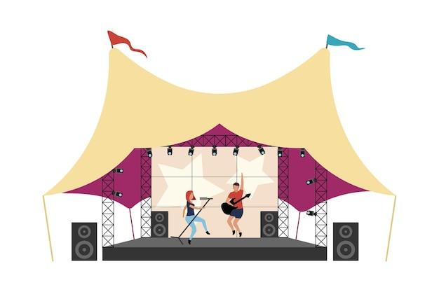 Ilustración de vector de concepto plano de festival de música. la banda de música actuando en el escenario aisló personajes de dibujos animados en 2d en blanco para el diseño web. actuación del festival. idea creativa de entretenimiento al aire libre.