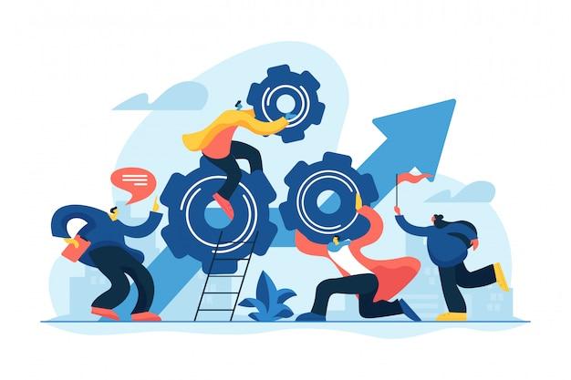 Ilustración de vector de concepto de poder de trabajo en equipo