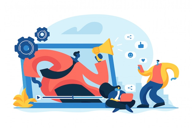 Ilustración de vector de concepto de promoción de red social