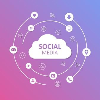 Ilustración de vector de concepto de redes sociales. símbolos de redes sociales. eps10 vectorial.