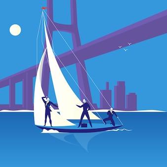 Ilustración de vector de concepto de regata de negocios en estilo plano