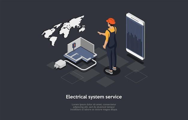 Ilustración de vector de concepto de servicio de sistema eléctrico sobre fondo oscuro con texto. composición isométrica en estilo de dibujos animados 3d. proceso de suministro de electricidad de la casa. empresa mundial, mapa, trabajador.