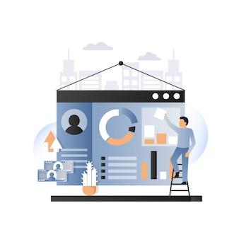 Ilustración de vector de concepto de servicios de desarrollo de sitio web