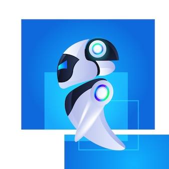 Ilustración de vector de concepto de tecnología de inteligencia artificial de carácter robótico moderno robot cyborg lindo
