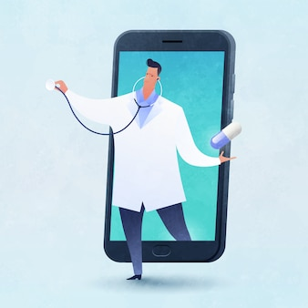 La ilustración de vector de concepto de telemedicina y telesalud con un médico lleva una píldora saliendo de un teléfono inteligente.